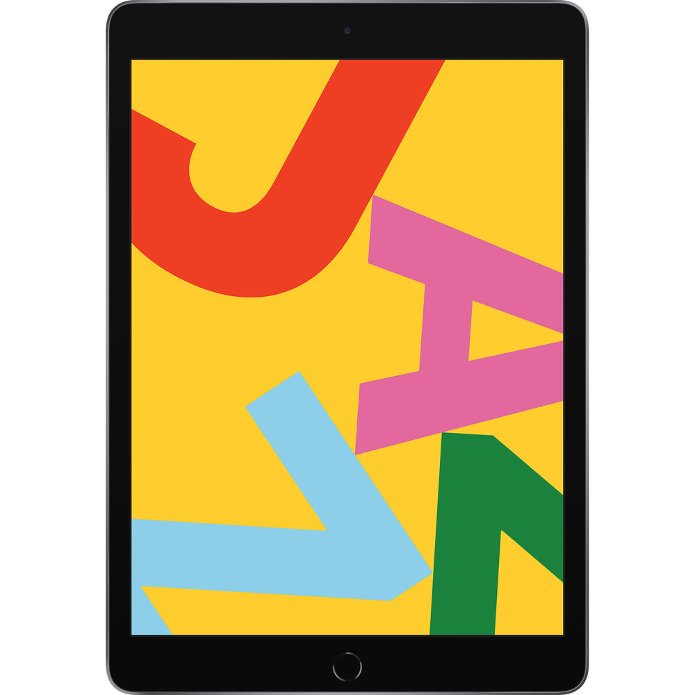 Apple iPad 10.2 (2019) 128GB Wifi with Screen Protector and Folding Case (Black) - Space Gray